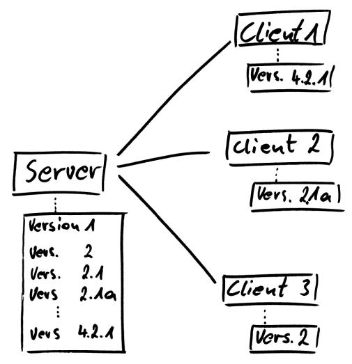 Diagramm zu Server-Client-Struktur zentraler Versonsverwaltungen